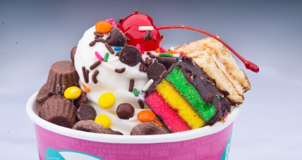 App_DD- Froyo World -Original tart with 3 layer cake chocolate pie Reece_s cups minis chocolate pretzels chocolate chips chocolate sprinkles and maraschino cherry 5